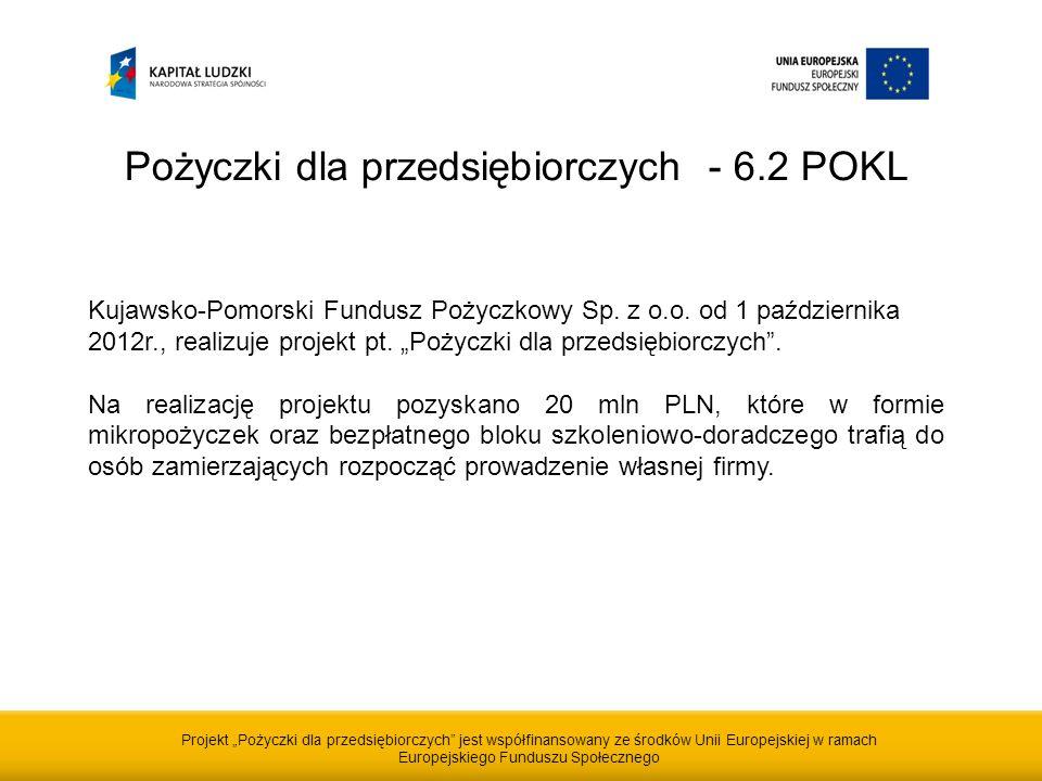 Projekt Pożyczki dla przedsiębiorczych jest współfinansowany ze środków Unii Europejskiej w ramach Europejskiego Funduszu Społecznego Pożyczki dla przedsiębiorczych - 6.2 POKL Kujawsko-Pomorski Fundusz Pożyczkowy Sp.