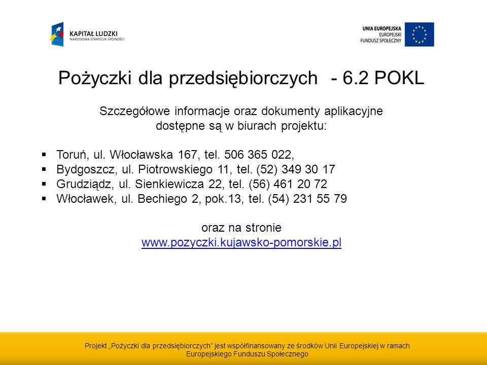 Projekt Pożyczki dla przedsiębiorczych jest współfinansowany ze środków Unii Europejskiej w ramach Europejskiego Funduszu Społecznego Pożyczki dla przedsiębiorczych - 6.2 POKL Szczegółowe informacje oraz dokumenty aplikacyjne dostępne są w biurach projektu: Toruń, ul.