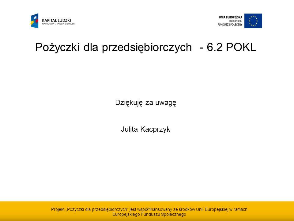 Projekt Pożyczki dla przedsiębiorczych jest współfinansowany ze środków Unii Europejskiej w ramach Europejskiego Funduszu Społecznego Pożyczki dla przedsiębiorczych - 6.2 POKL Dziękuję za uwagę Julita Kacprzyk