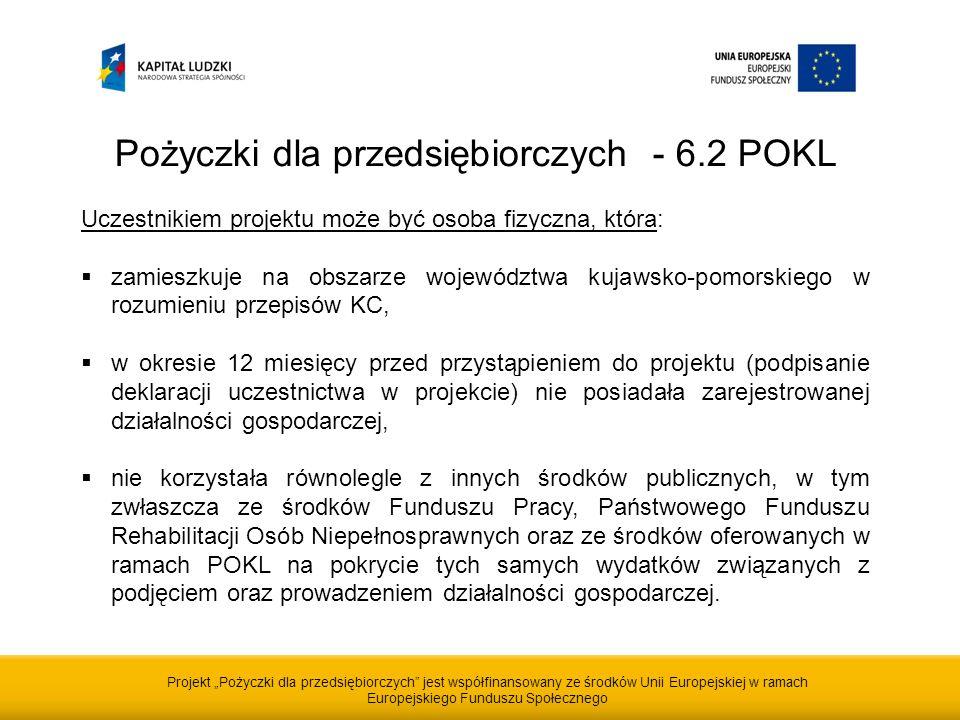 Projekt Pożyczki dla przedsiębiorczych jest współfinansowany ze środków Unii Europejskiej w ramach Europejskiego Funduszu Społecznego Pożyczki dla przedsiębiorczych - 6.2 POKL Uczestnikiem projektu może być osoba fizyczna, która: zamieszkuje na obszarze województwa kujawsko-pomorskiego w rozumieniu przepisów KC, w okresie 12 miesięcy przed przystąpieniem do projektu (podpisanie deklaracji uczestnictwa w projekcie) nie posiadała zarejestrowanej działalności gospodarczej, nie korzystała równolegle z innych środków publicznych, w tym zwłaszcza ze środków Funduszu Pracy, Państwowego Funduszu Rehabilitacji Osób Niepełnosprawnych oraz ze środków oferowanych w ramach POKL na pokrycie tych samych wydatków związanych z podjęciem oraz prowadzeniem działalności gospodarczej.