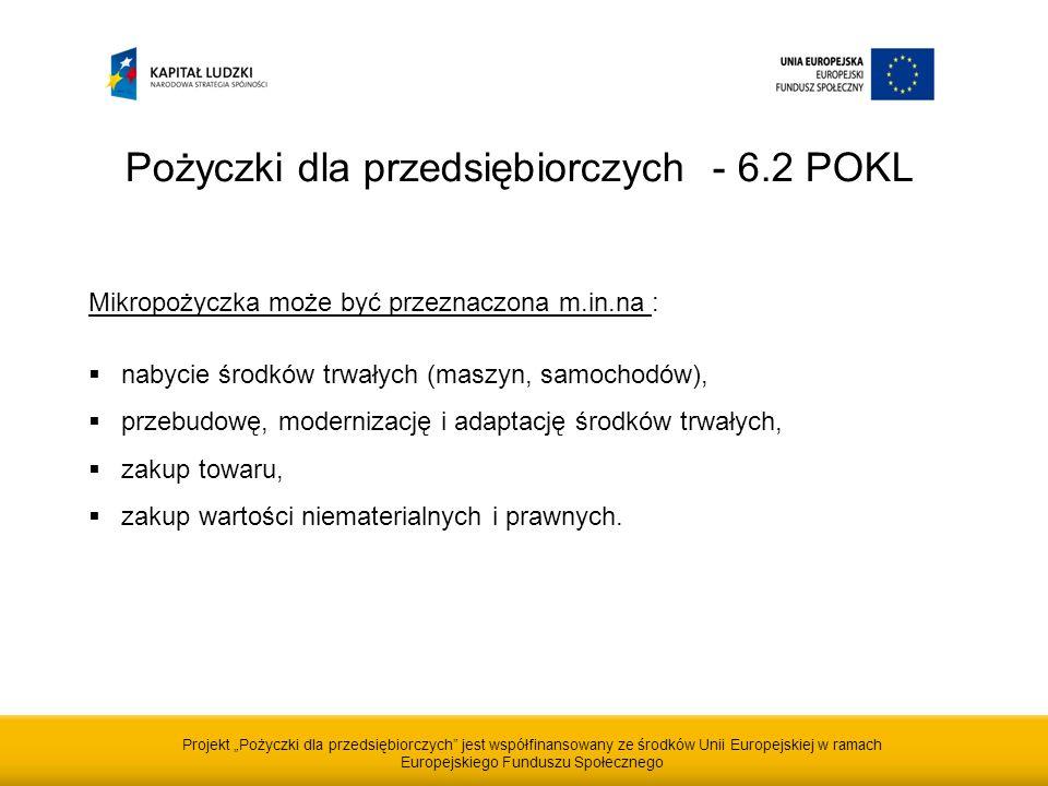 Projekt Pożyczki dla przedsiębiorczych jest współfinansowany ze środków Unii Europejskiej w ramach Europejskiego Funduszu Społecznego Pożyczki dla przedsiębiorczych - 6.2 POKL Mikropożyczka może być przeznaczona m.in.na : nabycie środków trwałych (maszyn, samochodów), przebudowę, modernizację i adaptację środków trwałych, zakup towaru, zakup wartości niematerialnych i prawnych.