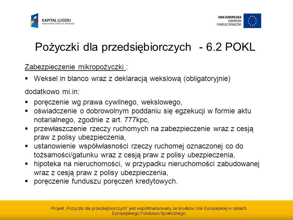 Projekt Pożyczki dla przedsiębiorczych jest współfinansowany ze środków Unii Europejskiej w ramach Europejskiego Funduszu Społecznego Pożyczki dla przedsiębiorczych - 6.2 POKL Zabezpieczenie mikropożyczki : Weksel in blanco wraz z deklaracją wekslową (obligatoryjnie) dodatkowo mi.in: poręczenie wg prawa cywilnego, wekslowego, oświadczenie o dobrowolnym poddaniu się egzekucji w formie aktu notarialnego, zgodnie z art.