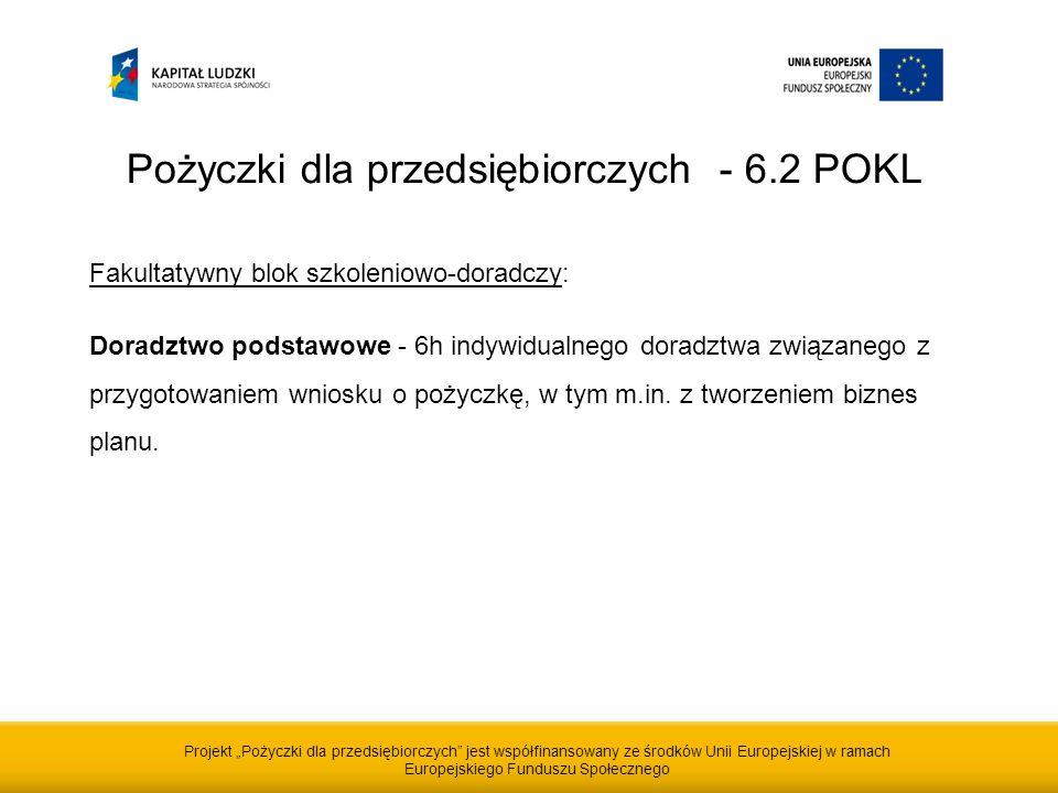 Projekt Pożyczki dla przedsiębiorczych jest współfinansowany ze środków Unii Europejskiej w ramach Europejskiego Funduszu Społecznego Pożyczki dla przedsiębiorczych - 6.2 POKL Fakultatywny blok szkoleniowo-doradczy: Doradztwo podstawowe - 6h indywidualnego doradztwa związanego z przygotowaniem wniosku o pożyczkę, w tym m.in.
