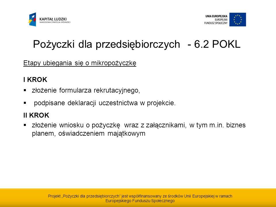 Projekt Pożyczki dla przedsiębiorczych jest współfinansowany ze środków Unii Europejskiej w ramach Europejskiego Funduszu Społecznego Pożyczki dla przedsiębiorczych - 6.2 POKL Etapy ubiegania się o mikropożyczkę I KROK złożenie formularza rekrutacyjnego, podpisane deklaracji uczestnictwa w projekcie.