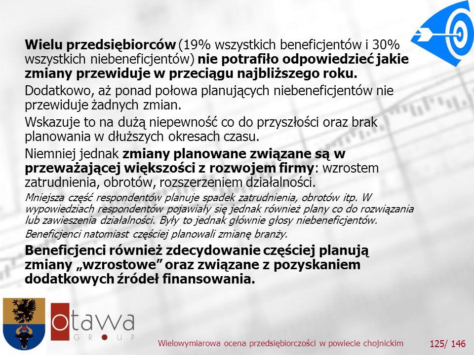 Wielowymiarowa ocena przedsiębiorczości w powiecie chojnickim 125/ 146 Wielu przedsiębiorców (19% wszystkich beneficjentów i 30% wszystkich niebeneficjentów) nie potrafiło odpowiedzieć jakie zmiany przewiduje w przeciągu najbliższego roku.