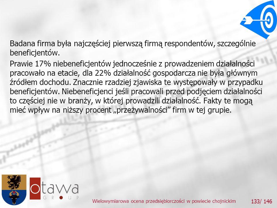 Wielowymiarowa ocena przedsiębiorczości w powiecie chojnickim 133/ 146 Badana firma była najczęściej pierwszą firmą respondentów, szczególnie beneficjentów.