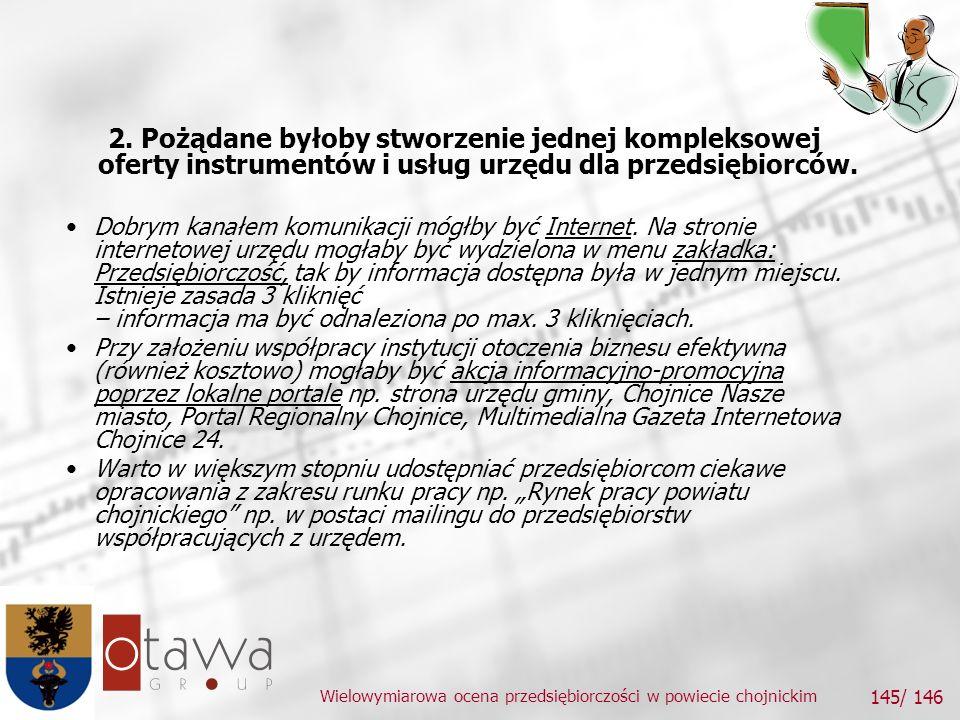 Wielowymiarowa ocena przedsiębiorczości w powiecie chojnickim 145/ 146 2.