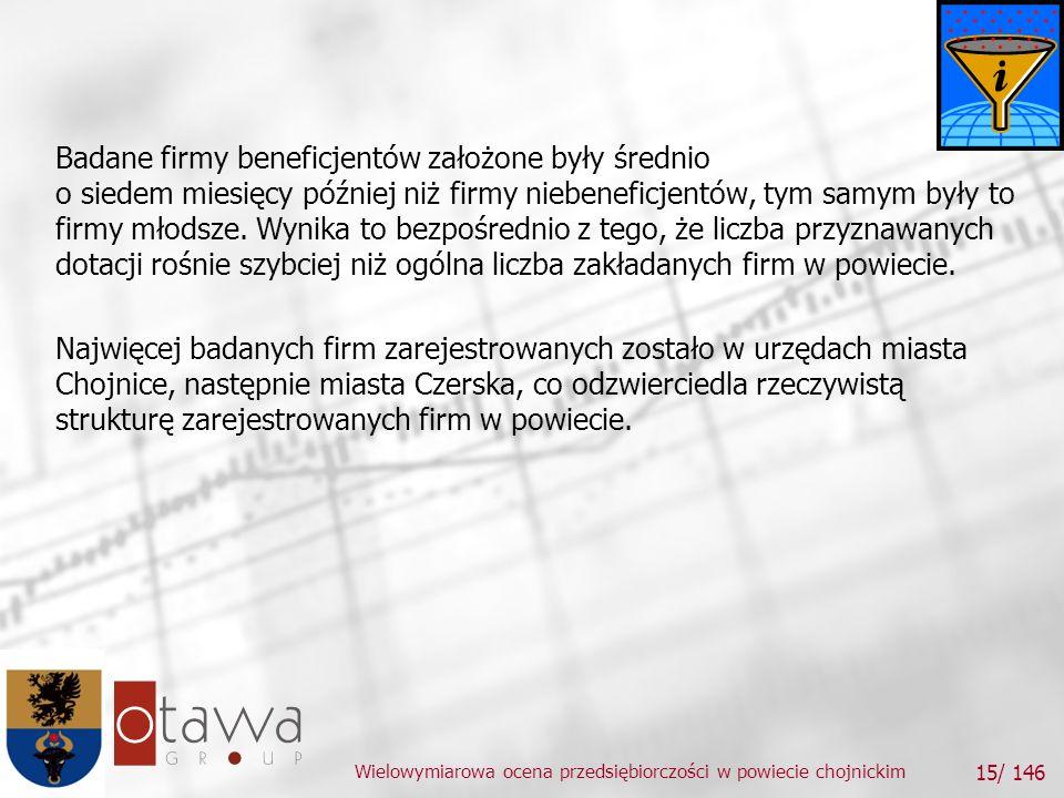 Wielowymiarowa ocena przedsiębiorczości w powiecie chojnickim 15/ 146 Badane firmy beneficjentów założone były średnio o siedem miesięcy później niż firmy niebeneficjentów, tym samym były to firmy młodsze.