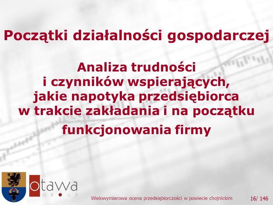 Wielowymiarowa ocena przedsiębiorczości w powiecie chojnickim 16/ 146 Początki działalności gospodarczej Analiza trudności i czynników wspierających, jakie napotyka przedsiębiorca w trakcie zakładania i na początku funkcjonowania firmy