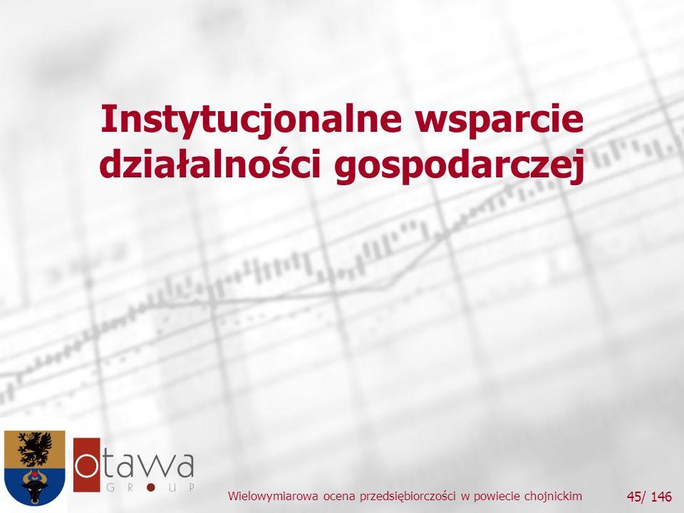 Wielowymiarowa ocena przedsiębiorczości w powiecie chojnickim 45/ 146 Instytucjonalne wsparcie działalności gospodarczej