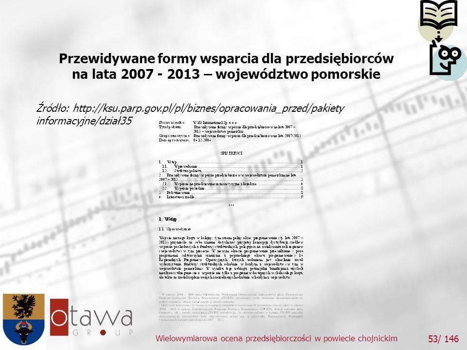 Wielowymiarowa ocena przedsiębiorczości w powiecie chojnickim 53/ 146 Przewidywane formy wsparcia dla przedsiębiorców na lata 2007 - 2013 – województwo pomorskie Źródło: http://ksu.parp.gov.pl/pl/biznes/opracowania_przed/pakiety informacyjne/dział35