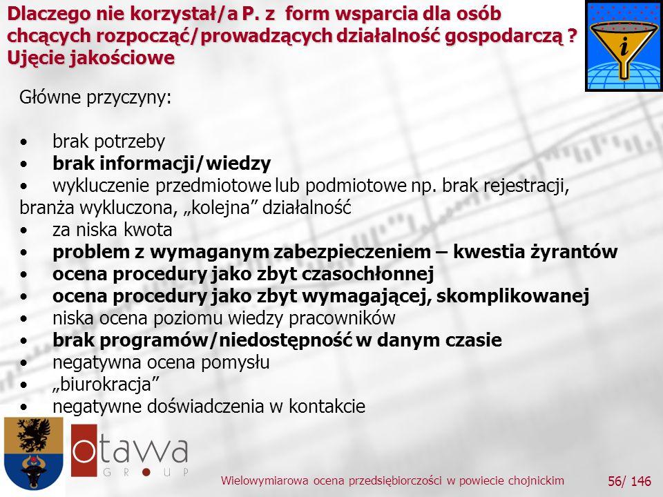 Wielowymiarowa ocena przedsiębiorczości w powiecie chojnickim 56/ 146 Dlaczego nie korzystał/a P.
