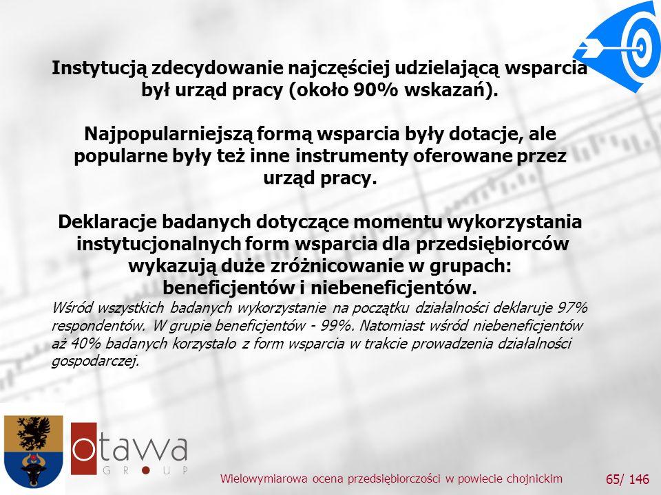 Wielowymiarowa ocena przedsiębiorczości w powiecie chojnickim 65/ 146 Instytucją zdecydowanie najczęściej udzielającą wsparcia był urząd pracy (około 90% wskazań).
