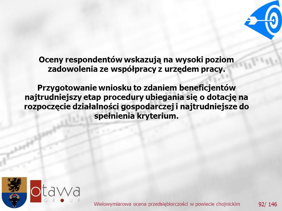 Wielowymiarowa ocena przedsiębiorczości w powiecie chojnickim 92/ 146 Oceny respondentów wskazują na wysoki poziom zadowolenia ze współpracy z urzędem pracy.