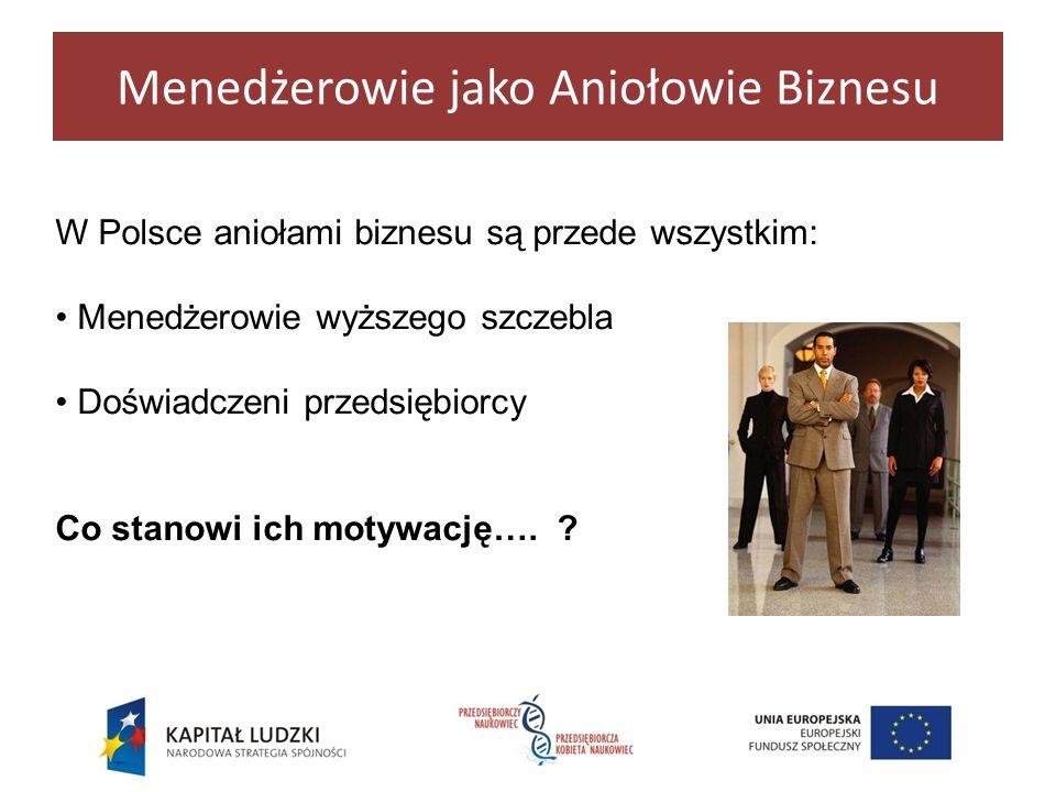 Menedżerowie jako Aniołowie Biznesu W Polsce aniołami biznesu są przede wszystkim: Menedżerowie wyższego szczebla Doświadczeni przedsiębiorcy Co stano