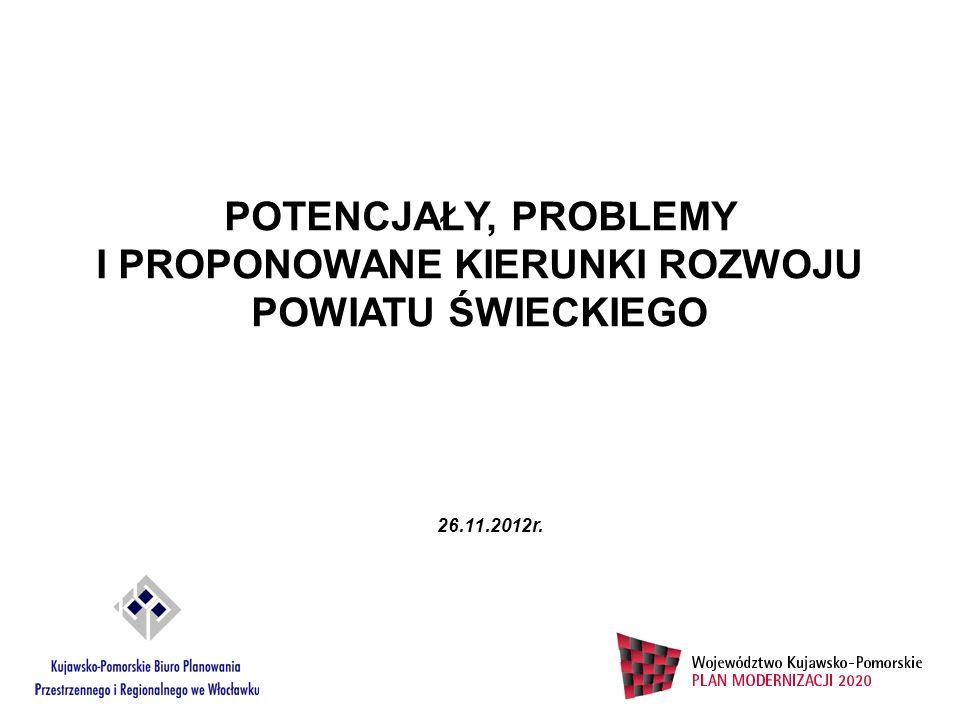 POTENCJAŁY, PROBLEMY I PROPONOWANE KIERUNKI ROZWOJU POWIATU ŚWIECKIEGO 26.11.2012r.