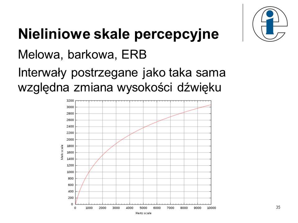 35 Nieliniowe skale percepcyjne Melowa, barkowa, ERB Interwały postrzegane jako taka sama względna zmiana wysokości dźwięku
