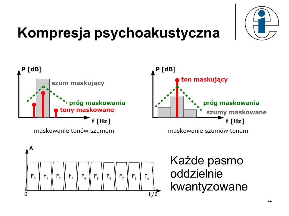 44 Kompresja psychoakustyczna Każde pasmo oddzielnie kwantyzowane