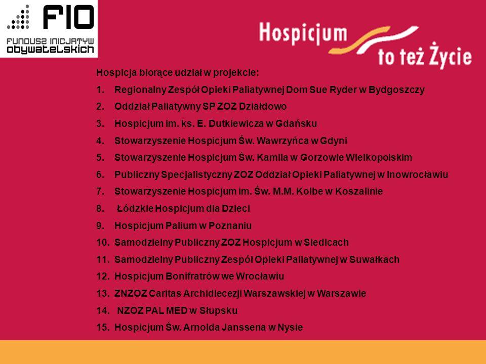 www.hospicja.pl Hospicja biorące udział w projekcie: 1.Regionalny Zespół Opieki Paliatywnej Dom Sue Ryder w Bydgoszczy 2.Oddział Paliatywny SP ZOZ Działdowo 3.Hospicjum im.