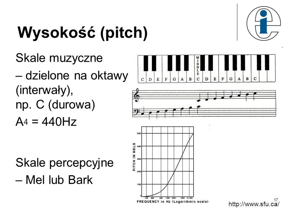 Wysokość (pitch) Skale muzyczne – dzielone na oktawy (interwały), np.