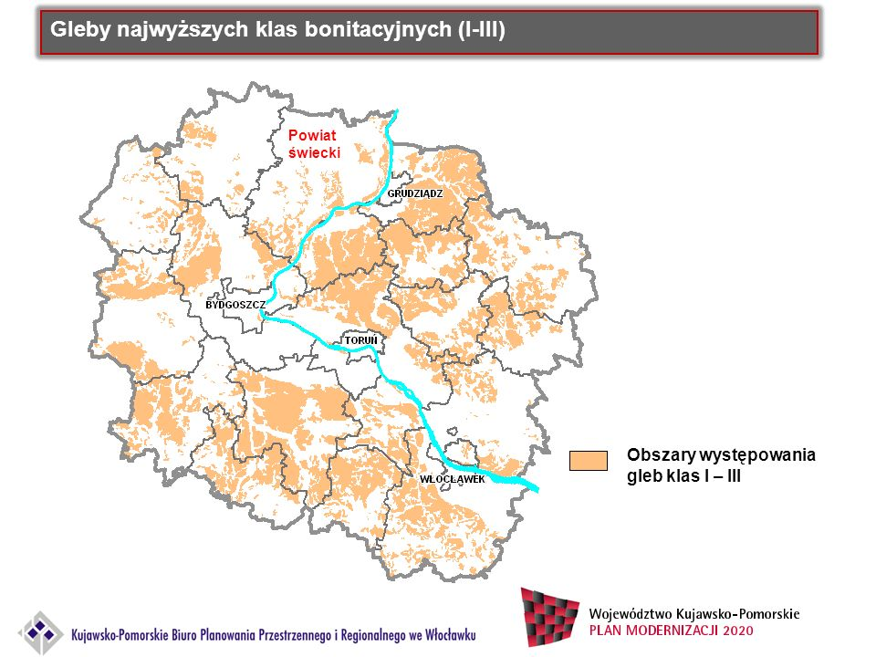 Gleby najwyższych klas bonitacyjnych (I-III) Obszary występowania gleb klas I – III Powiat świecki