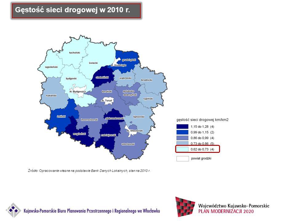 Gęstość sieci drogowej w 2010 r. Źródło: Opracowanie własne na podstawie Bank Danych Lokalnych, stan na 2010 r.