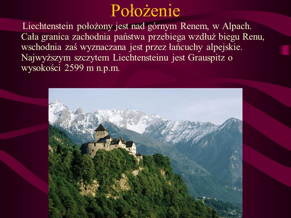 Położenie Liechtenstein położony jest nad górnym Renem, w Alpach. Cała granica zachodnia państwa przebiega wzdłuż biegu Renu, wschodnia zaś wyznaczana