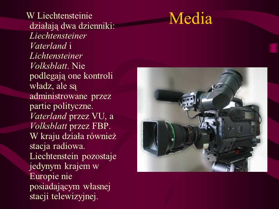 Media W Liechtensteinie działają dwa dzienniki: Liechtensteiner Vaterland i Lichtensteiner Volksblatt. Nie podlegają one kontroli władz, ale są admini