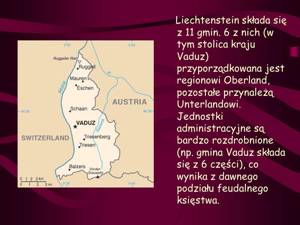 Liechtenstein składa się z 11 gmin. 6 z nich (w tym stolica kraju Vaduz) przyporządkowana jest regionowi Oberland, pozostałe przynależą Unterlandowi.