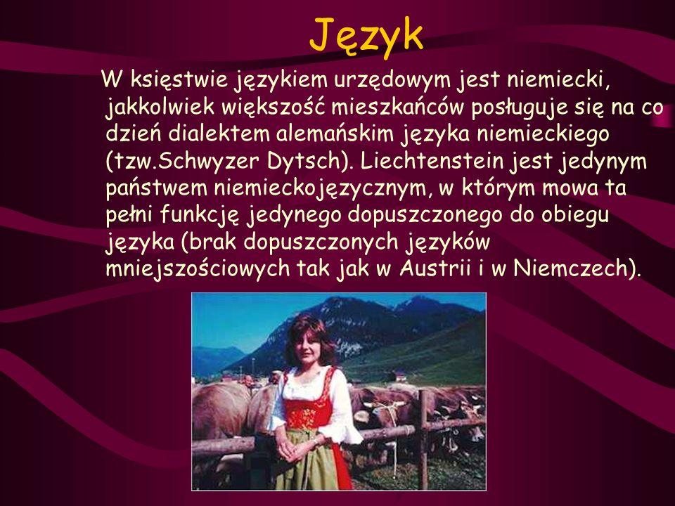 Język W księstwie językiem urzędowym jest niemiecki, jakkolwiek większość mieszkańców posługuje się na co dzień dialektem alemańskim języka niemieckie