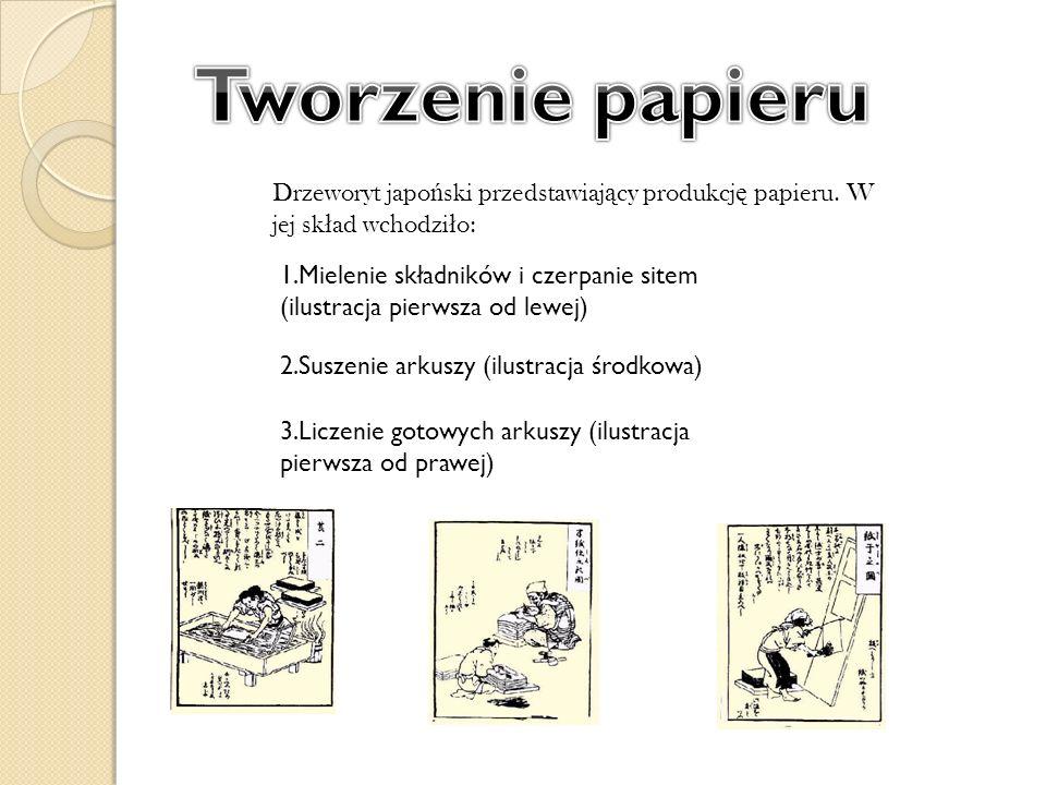 Drzeworyt japo ń ski przedstawiaj ą cy produkcj ę papieru. W jej sk ł ad wchodzi ł o: 1.Mielenie składników i czerpanie sitem (ilustracja pierwsza od