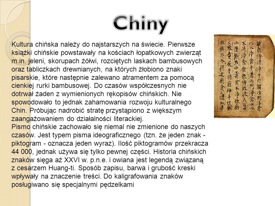 Kultura chińska należy do najstarszych na świecie. Pierwsze książki chińskie powstawały na kościach łopatkowych zwierząt m.in. jeleni, skorupach żółwi