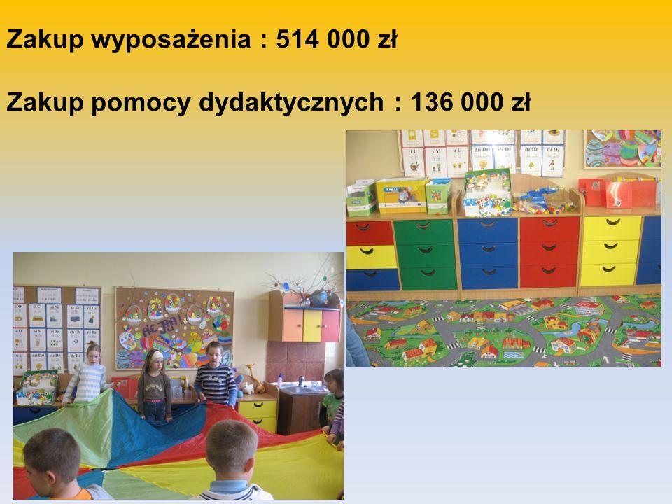 Zakup wyposażenia : 514 000 zł Zakup pomocy dydaktycznych : 136 000 zł