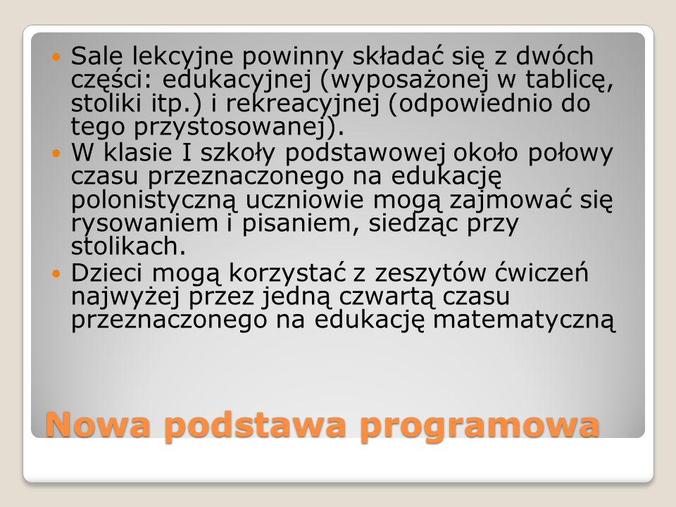 Nowa podstawa programowa Sale lekcyjne powinny składać się z dwóch części: edukacyjnej (wyposażonej w tablicę, stoliki itp.) i rekreacyjnej (odpowiedn