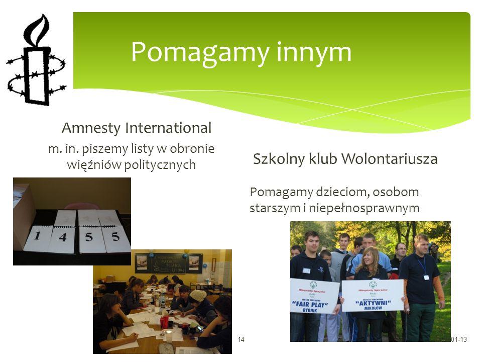 Pomagamy innym Amnesty International m.in.