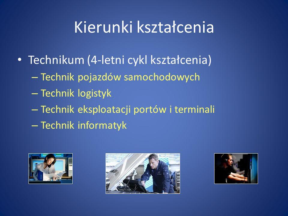 Kierunki kształcenia Technikum (4-letni cykl kształcenia) – Technik pojazdów samochodowych – Technik logistyk – Technik eksploatacji portów i terminali – Technik informatyk