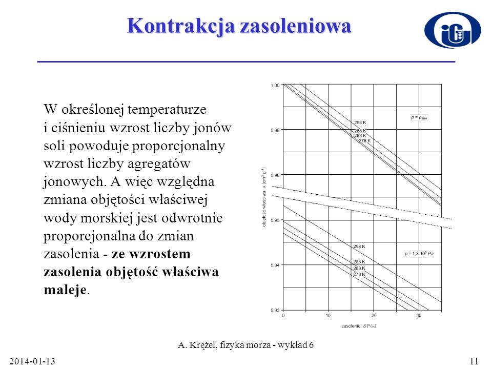 2014-01-13 A. Krężel, fizyka morza - wykład 6 11 Kontrakcja zasoleniowa W określonej temperaturze i ciśnieniu wzrost liczby jonów soli powoduje propor
