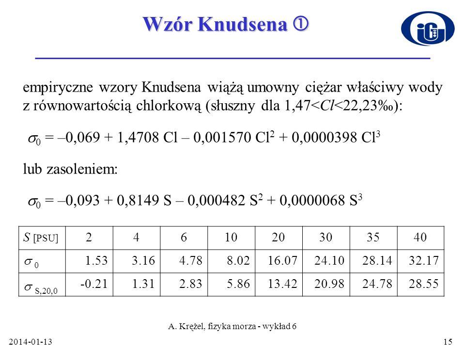 2014-01-13 A. Krężel, fizyka morza - wykład 6 15 Wzór Knudsena Wzór Knudsena empiryczne wzory Knudsena wiążą umowny ciężar właściwy wody z równowartoś