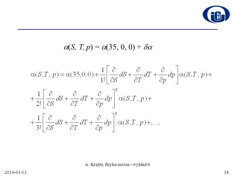 2014-01-13 A. Krężel, fizyka morza - wykład 6 18 (S, T, p) = (35, 0, 0) +