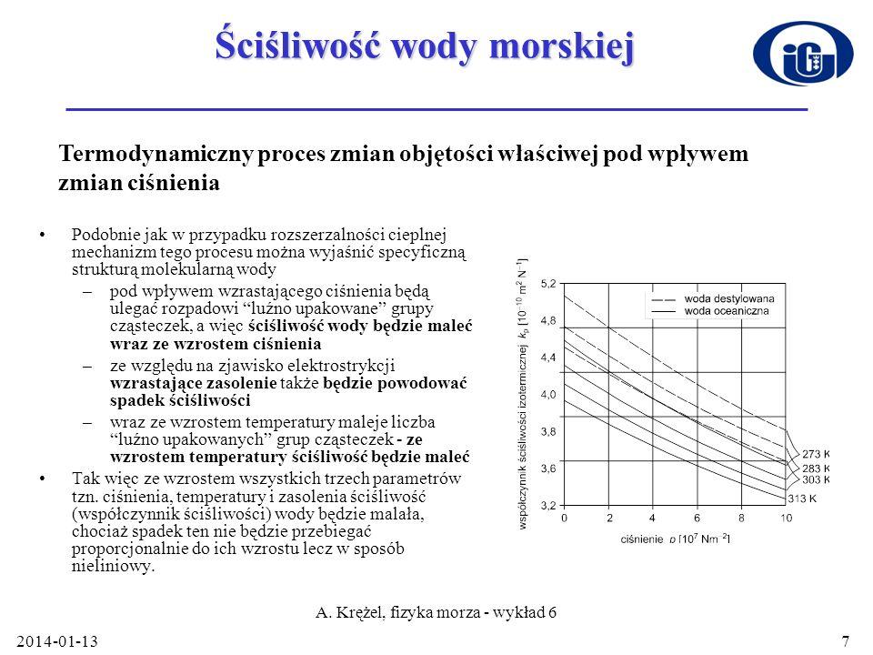 2014-01-13 A. Krężel, fizyka morza - wykład 6 7 Ściśliwość wody morskiej Podobnie jak w przypadku rozszerzalności cieplnej mechanizm tego procesu możn