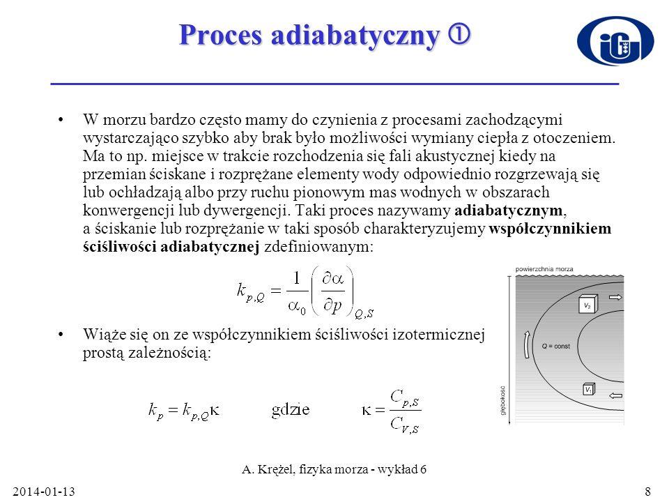 2014-01-13 A. Krężel, fizyka morza - wykład 6 8 Proces adiabatyczny Proces adiabatyczny W morzu bardzo często mamy do czynienia z procesami zachodzący