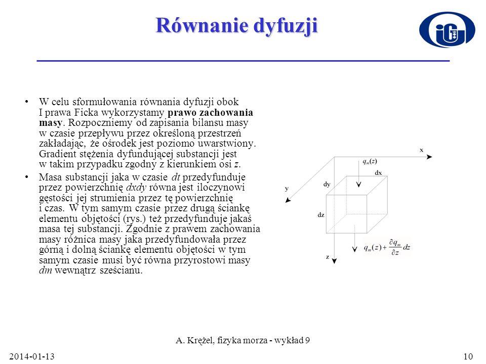 2014-01-13 A. Krężel, fizyka morza - wykład 9 10 Równanie dyfuzji W celu sformułowania równania dyfuzji obok I prawa Ficka wykorzystamy prawo zachowan