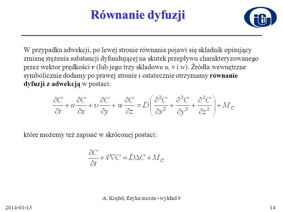 2014-01-13 A. Krężel, fizyka morza - wykład 9 14 Równanie dyfuzji W przypadku adwekcji, po lewej stronie równania pojawi się składnik opisujący zmianę