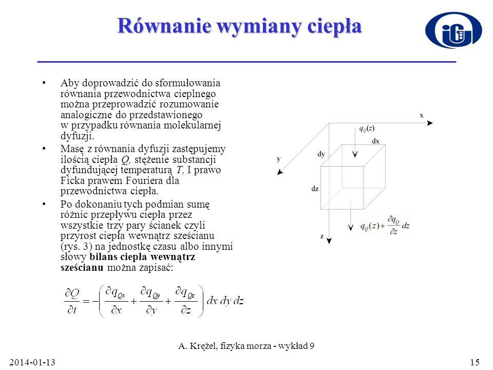 2014-01-13 A. Krężel, fizyka morza - wykład 9 15 Równanie wymiany ciepła Aby doprowadzić do sformułowania równania przewodnictwa cieplnego można przep