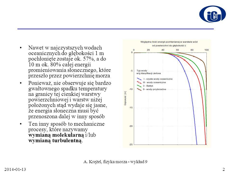 2014-01-13 A. Krężel, fizyka morza - wykład 9 2 Nawet w najczystszych wodach oceanicznych do głębokości 1 m pochłonięte zostaje ok. 57%, a do 10 m ok.