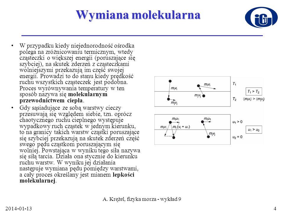 2014-01-13 A. Krężel, fizyka morza - wykład 9 4 Wymiana molekularna W przypadku kiedy niejednorodność ośrodka polega na zróżnicowaniu termicznym, wted