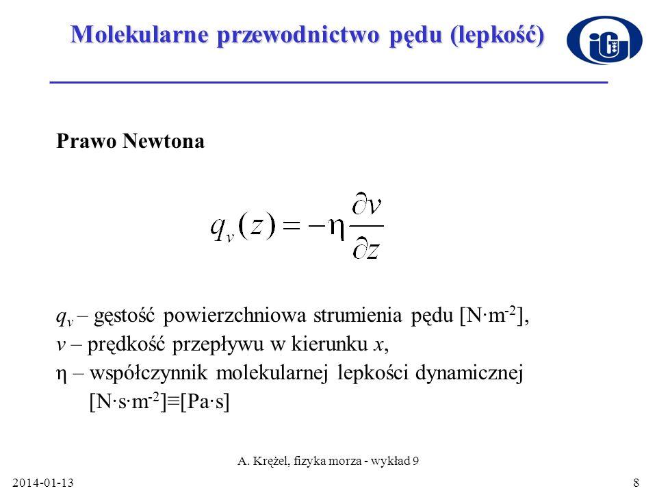 2014-01-13 A. Krężel, fizyka morza - wykład 9 8 Molekularne przewodnictwo pędu (lepkość) Prawo Newtona q v – gęstość powierzchniowa strumienia pędu [N