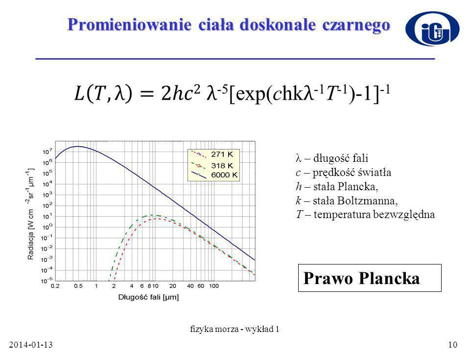 2014-01-13 fizyka morza - wykład 1 10 Promieniowanie ciała doskonale czarnego λ – długość fali c – prędkość światła h – stała Plancka, k – stała Boltzmanna, T – temperatura bezwzględna Prawo Plancka