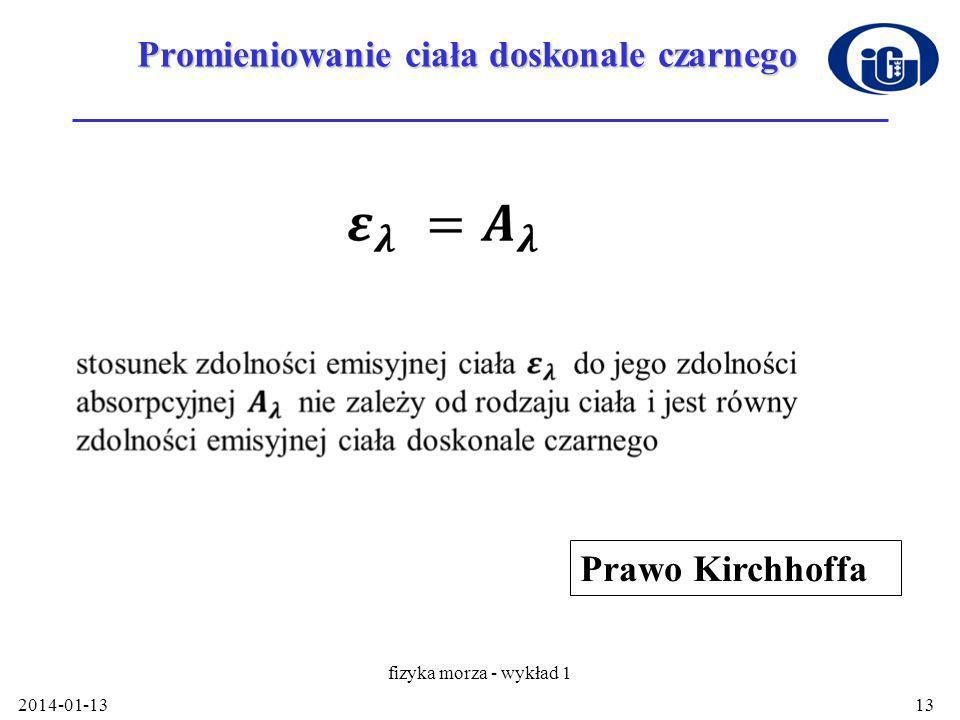 Promieniowanie ciała doskonale czarnego 2014-01-13 fizyka morza - wykład 1 13 Prawo Kirchhoffa