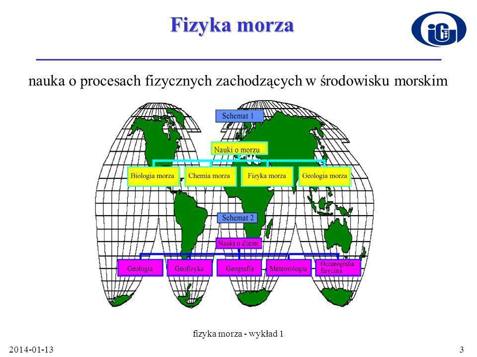 2014-01-13 fizyka morza - wykład 1 4 Podstawowe zagadnienia Ziemia jako układ termodynamiczny, prawa promieniowania, bilans i widmo promieniowania Ziemi Woda morska jako ośrodek fizyczny –struktura molekularna wody –właściwości fizyczne wody morskiej Termodynamika - przede wszystkim równanie stanu Optyka morza - procesy życiowe, bilans cieplny Elementy dynamiki morza - przenoszenie masy ciepła i pędu w morzu –procesy oddziaływania morza i atmosfery –ruch falowy i prądy morskie Akustyka morza - komunikacja podwodna
